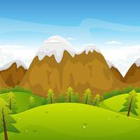 tecknad berg landskap