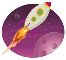 Raketenschiff fliegen in den Weltraum
