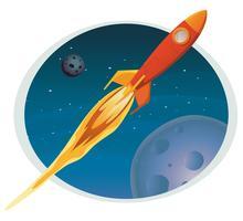 Raumschiff, das durch Raumfahne fliegt