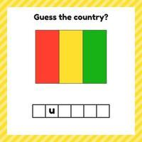 Arbeitsblatt zur Geographie für Vorschul- und Schulkinder. Kreuzworträtsel. Guinea Flagge. erkenne das Land. vektor