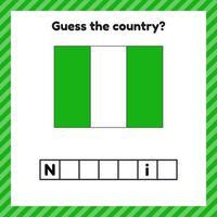 Arbeitsblatt zur Geographie für Vorschul- und Schulkinder. Kreuzworträtsel. Nigeria-Flagge. erkenne das Land. vektor