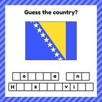 Arbeitsblatt zur Geographie für Vorschul- und Schulkinder. Kreuzworträtsel. Flagge von Bosnien und Herzegowina. erkenne das Land. vektor