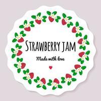 Vektor-Illustration. Etikett für Beerenmarmelade. runder Rahmen aus Beeren. Erdbeere mit Blüten und Blättern vektor