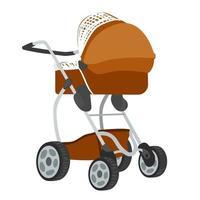 Vektor bunte Illustration von braun gefärbten Kinderwagen im modernen Stil, isoliert auf weißem Hintergrund.