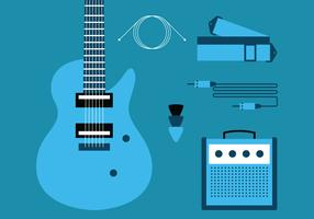 E-Gitarre Knolling Set vektor