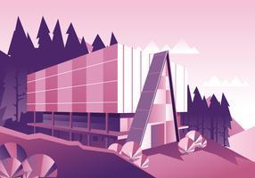 Kabinenhaus im Wald minimalistischer Stil vektor