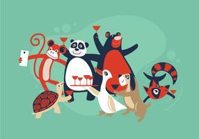Glad tid, Selfie och grupp av vilda djur som firar tillsammans partiet vektor