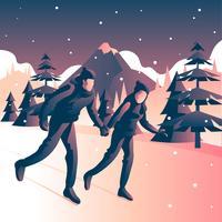 Paare, die Eislauf unter Schneefällen am Winter spielen vektor