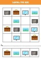 Sudoku-Spiel für Kinder mit rechteckigen Cartoon-Objekten. vektor