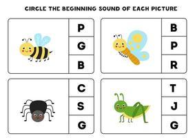 Arbeitsblatt für Kinder. den Anfangsklang finden. süße Insekten. vektor