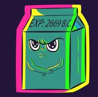 Konzeptkunst einer lustigen Zeichentrickfigur. eine Schachtel mit verdorbener und abgelaufener Milch, die mit verschränkten Armen in einer Görenposition bleibt. Joghurtdose mit undankbarem Gesichtsausdruck, der einen Wutanfall auslöst vektor
