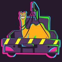 Vektor eines Kamels in einem Abschleppwagen. Illustration eines Neontiers in einem Schleppseil