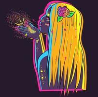 Vektor einer Frau unter Neonlichtern, die eine Rose im Haar trägt. Illustrationskunst einer jungen blonden Frau, die Glitzer und Konfetti durchbrennt. Party- und Feierkonzept einer Dame mit leuchtender Haut.