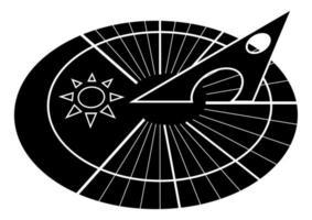 Sonnenuhr. solares Zifferblatt. Sonnenuhr.Uhr-Symbol im Glyphen-Stil isoliert auf weißem Hintergrund vektor