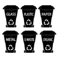 Mülleimer schwarzer Mülleimer Glas Plastik Papier Biomüll vektor