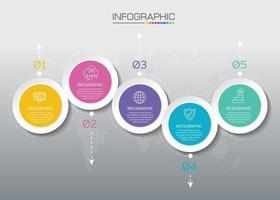 Business-Timeline-Infografik mit Symbolen für abstraktes Vorlagenmeilensteinelement modernes Diagramm und Präsentationsdiagramm. vektor