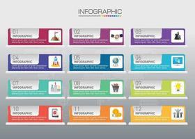 Schaltflächengrafikelemente, 12 Zahlen, Infografiken Vektor 12 Schritte können für das Geschäftskonzept mit 12 Optionen verwendet werden.