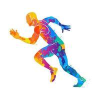 abstrakte Läufer auf kurzen Distanzen Sprinter aus Spritzer von Aquarellen Vektor-Illustration von Farben vektor