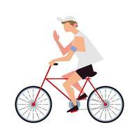 ung man ridning cykel aktivitet sport livsstil utomhus vektor