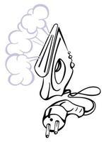 Bügeleisen mit Dampfwolke vektor