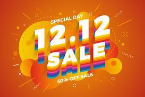 12.12 Einkaufstag Verkauf Banner Hintergrund. vektor