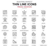Tunnlinjen resa och turism för resebyrå ikoner uppsättning