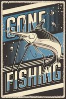 Retro-Vintage-Illustrationsvektorgrafik des Fischens passend für Holzplakat oder Beschilderung vektor