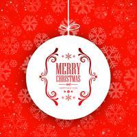 Kugel der frohen Weihnachten mit Schneeflockenhintergrundvektor vektor