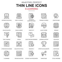 Tunn linje online utbildning e-lärande e-bok ikoner uppsättning vektor