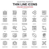 Tunn linje online utbildning, e-lärande, e-bok ikoner uppsättning vektor