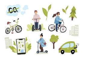 Eco Urban City Transport Set. Frau, die elektrische Tretrollerfahrräder mit der mobilen App des Mietservice fährt. Verkehrsökologiekonzept vektor