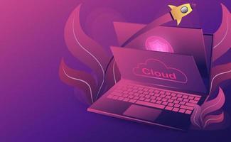 Cloud-Technologie-Konzept. Online-Computertechnologie. Big-Data-Flow-Verarbeitungskonzept. isometrische flache Designvektorillustration vektor