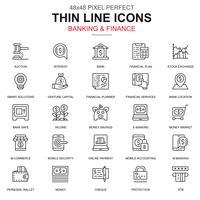 Tunn linje bank och finans ikoner uppsättning vektor