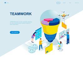 Modernt plandesign isometrisk koncept för Teamwork vektor