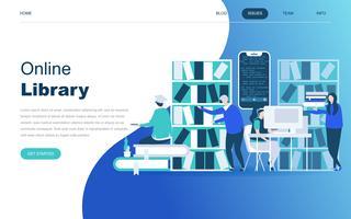 Modernes flaches Designkonzept der Online-Bibliothek vektor