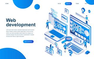 Modern isometrisk designkoncept för webbutveckling