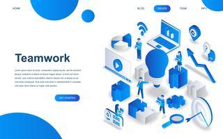 Modern isometrisk designkoncept av Teamwork vektor