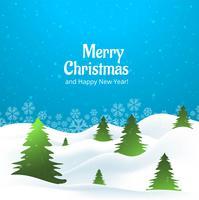Schöner kreativer Baum der frohen Weihnachten mit Schneeflockenkarte desi vektor