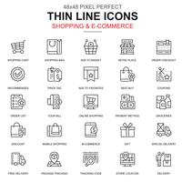 Tunn linje online shopping och e-handels ikoner uppsättning