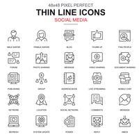 Tunn linje internet marknadsföring och sociala nätverk ikoner uppsättning