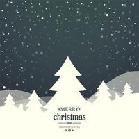 God julkort med dekorativ träddesign vektor