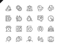 Enkel uppsättning Time Management Relaterade Vector Line Icons