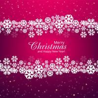 Schneeflockekarten-Hintergrundvektor der frohen Weihnachten vektor