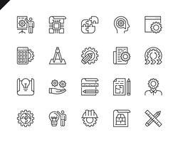 Enkel uppsättning av tekniska designrelaterade vektorlinje ikoner