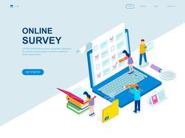 Modern plandesign isometrisk koncept av online-undersökning