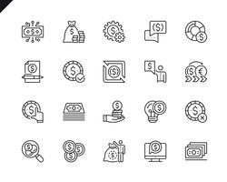 Enkel uppsättning pengar relaterade vektorlinje ikoner