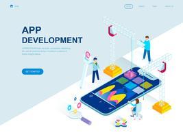 Modernes flaches Design isometrisches Konzept der App-Entwicklung vektor