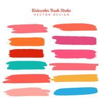 Vacker färgstark vattenfärg stroke set design vektor
