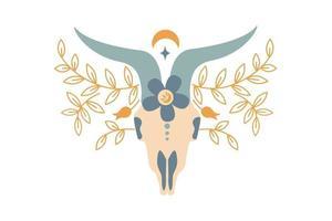 Magic Vintage Farbe Widderschädel mit Blume, Zweig der Blätter, Mond, Stern isoliert auf weißem Hintergrund. flache Vektorgrafik. böhmisches Design für Stammesdesign, Einladung, Web, Textil, Tapete vektor