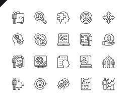 Enkel uppsättning affärsrelaterade vektorlinje ikoner